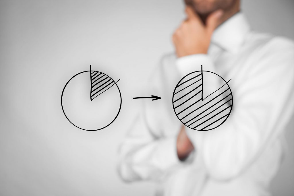 37166965 - market share or pareto principle (80/20) concept. man think how to increase company market share and apply pareto principle.